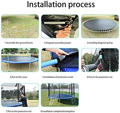 This is an image of WORUI Trampoline with Net Enclosure installation process instruction.