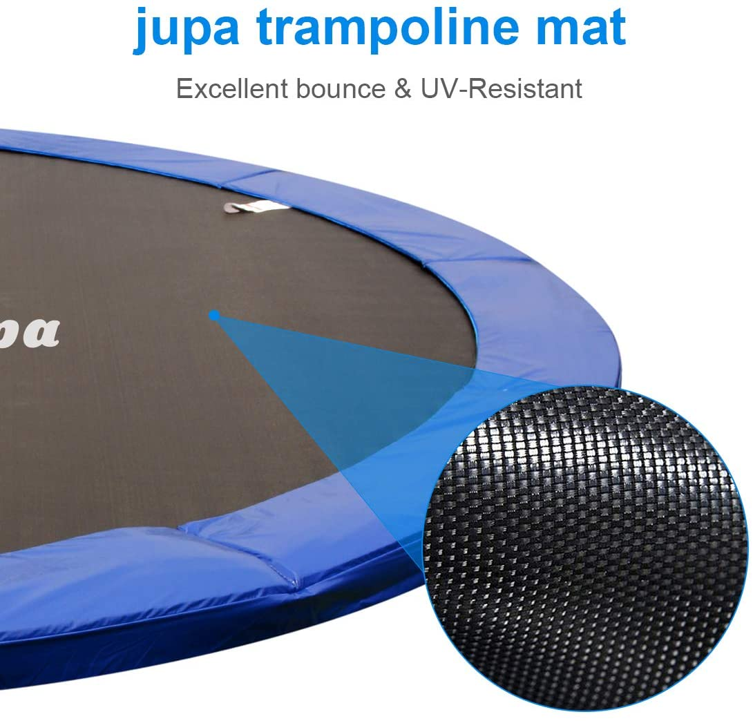 This is an image of JUPA Kids Trampoline 15FT 14FT 12FT, Safe Outdoor Trampoline. This trampoline provides excellent bounce and UV-Resistant.