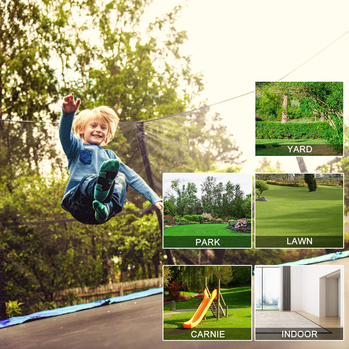 This is an image of Giantex 14Ft Trampoline With Enclosure. The image shows where users can placed this trampoline. The options are yard, park, lawn, carnie, and even indoor.