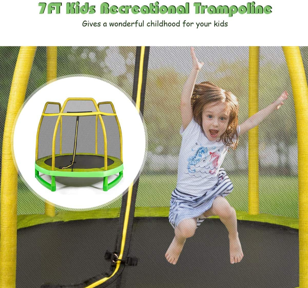 This is an image of Giantex 7 Ft Kids Trampoline w/Safety Enclosure Net