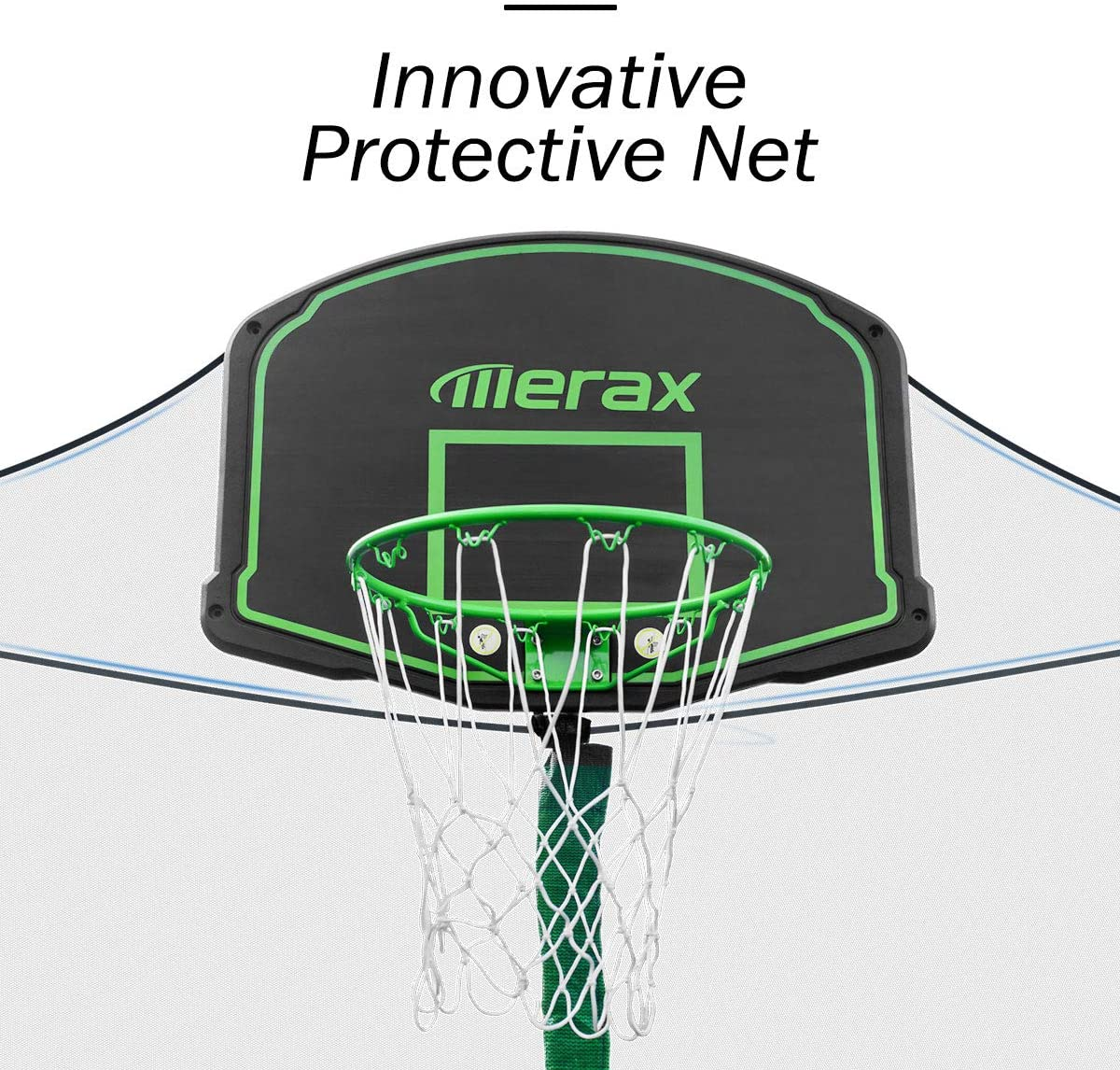 This is an image of Merax 14 FT Round Trampoline with Safety Enclosure with innovative protective net.