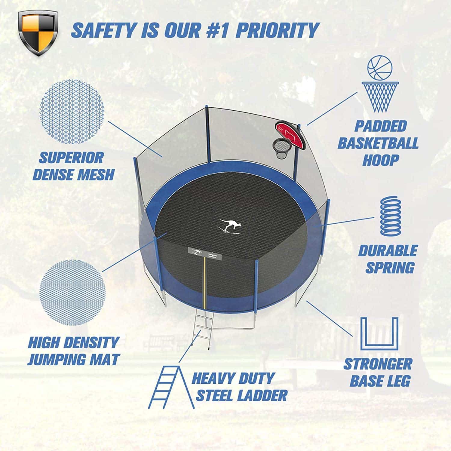 This is an image of Kangaroo Hoppers 12 14 15 FT Trampoline with Safety Enclosure Net with it main features.