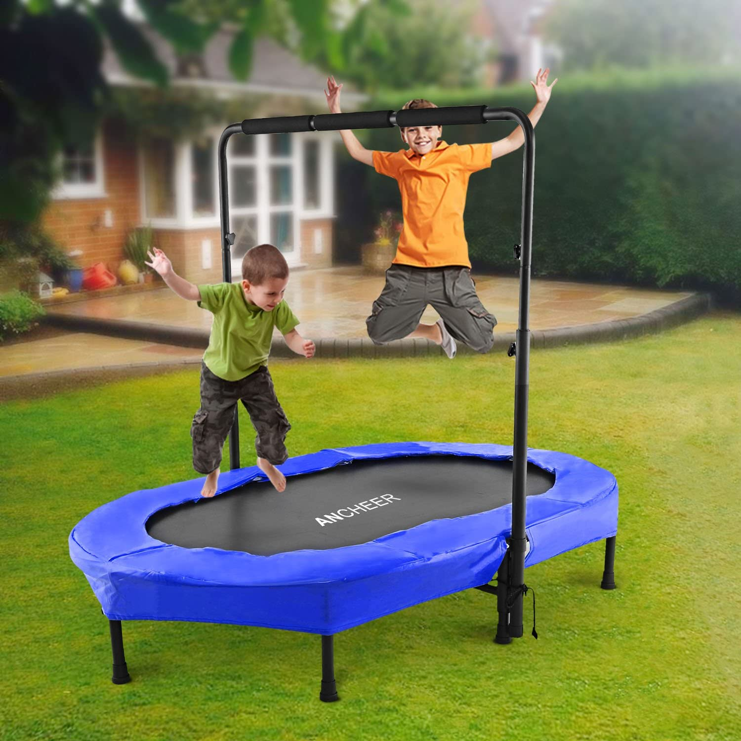 best safest kids trampoline with net bar indoor outdoor