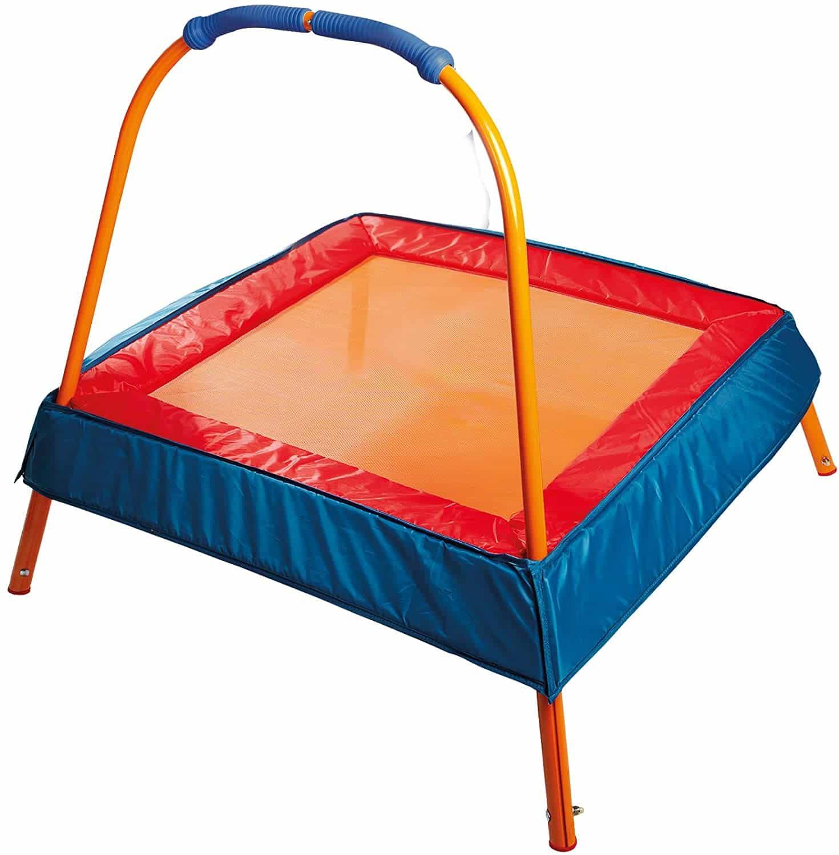 best safest kids trampoline with net bar indoor outdoor