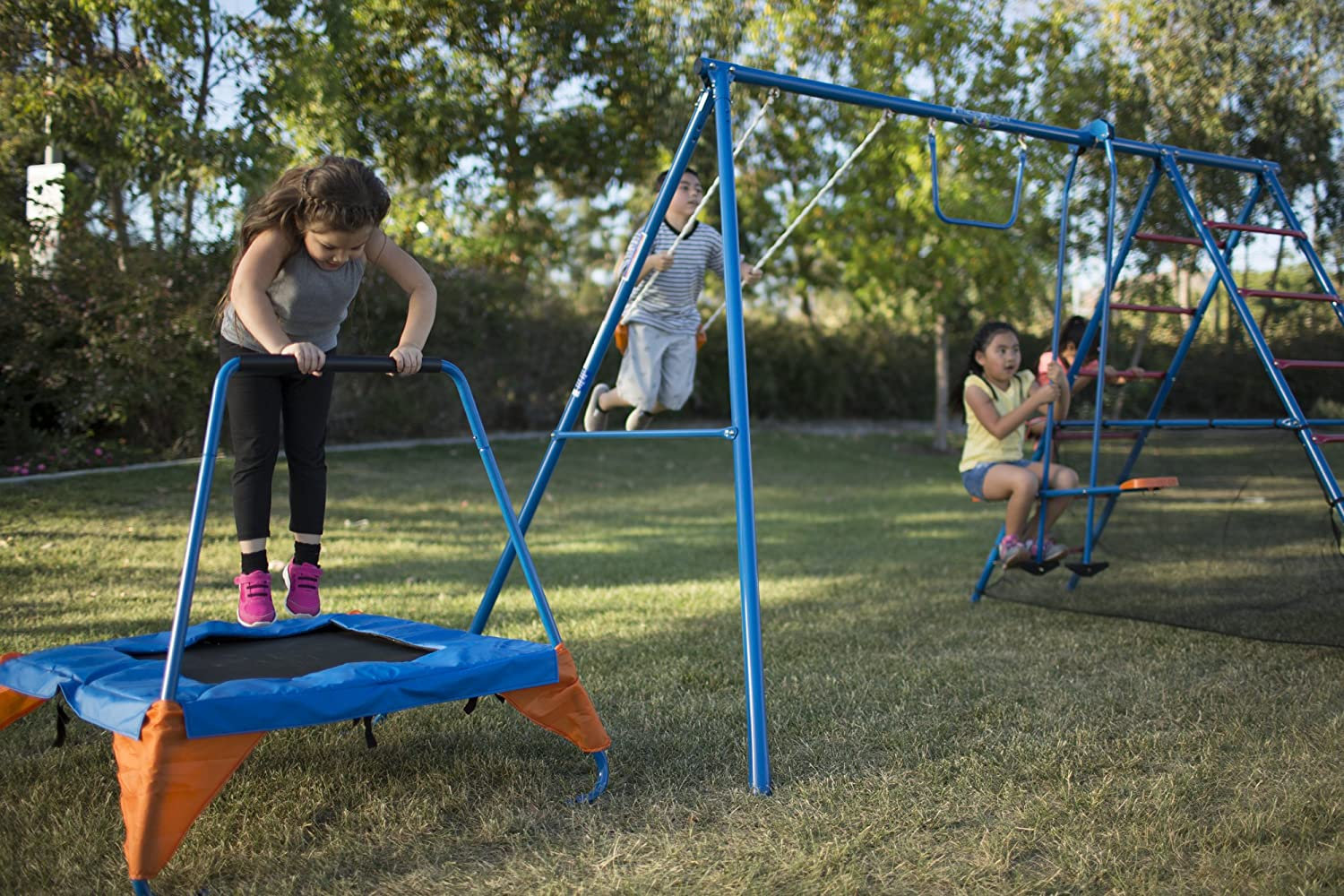kids metal swing set combo with trampoline attached and slide