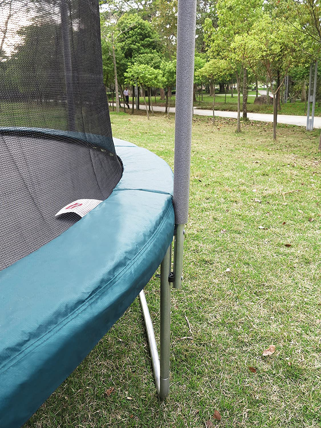 This is Sportspower 15ft Trampoline And Enclosure Combination. It is smaller than with rectangular or square trampolines which is why the round form is one of the most prominent one for families